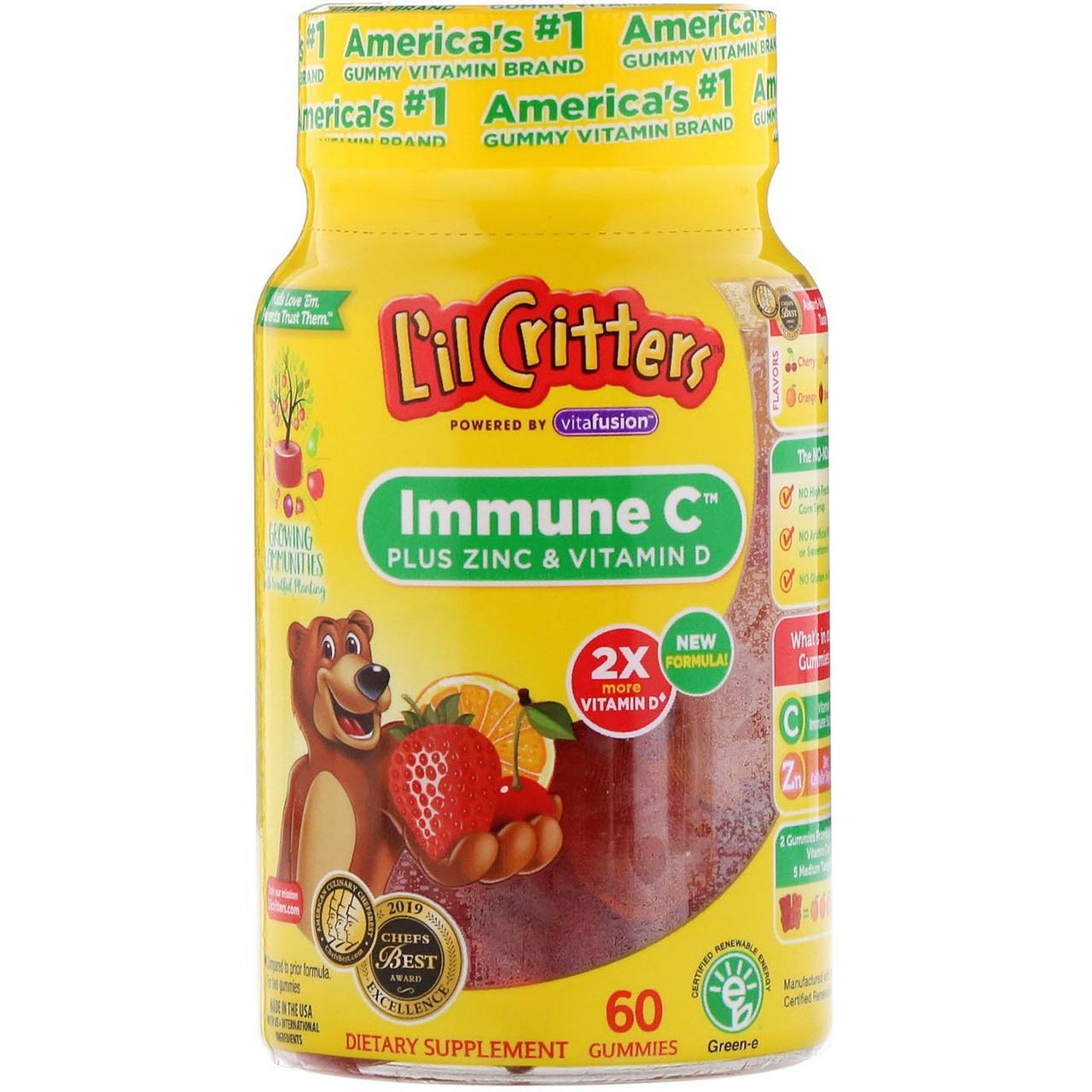 Детский витамин C плюс цинк и витамин D от L'il Critters, Immune С, 60 жевательных таблеток