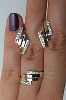 """Комплект из серебра """"Бланка"""" женский кольцо + серьги"""