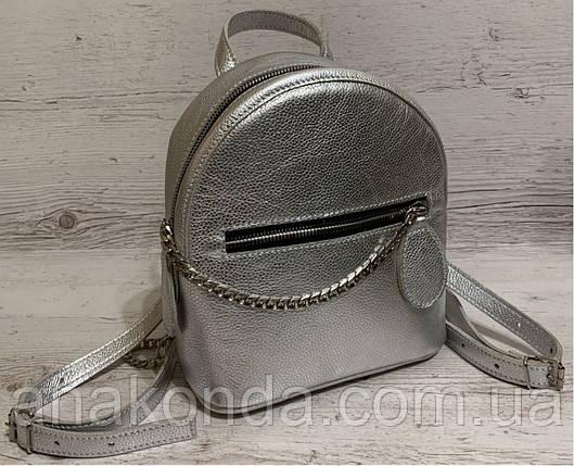 111с Натуральная кожа, Городской рюкзак Кожаный рюкзак Из натуральной кожи Рюкзак женский металлик серебро, фото 2