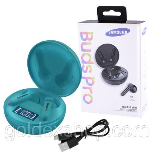 Беспроводные Bluetooth наушники Samsung Buds Pro MG-S19 с кейсом, индикация заряда, aquamarine