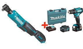 Акумуляторний кутовий гайковерт Makita WR100DZ + акк шуруповерт DF333DWYE + 2 акб 12 V 1.5 Ah + з/у + кейс