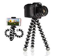 Гнучкий штатив тринога трипод для телефону і камери (павук) (чорно-білий)