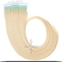 Натуральные славянские  волосы на лентах 45-50 см 100 грамм, Блонд №613