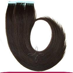 Натуральные Славянские Волосы на Лентах 60 см 100 грамм, Шоколад №02