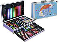 Набор для детского творчества (рисования) Foco в алюминиевом чемодане из 122 предметов Blue