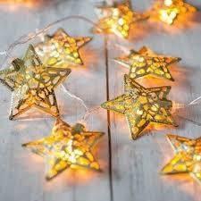 Новогодняя декоративная гирлянда светодиодная с металлическими звездами 4 м. Праздничное освещение для дома