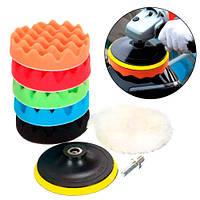 Набор из 6 насадок на дрель 10см для полировки авто + шлифовальный диск