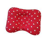 Ортопедическая подушка для новорожденных двухсторонняя Красная в сердечко