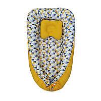 """Кокон-гнездышко для новорожденных, позиционер двухсторонний + ортопедическая подушка """"Геометрия"""""""