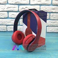 Беспроводные bluetooth наушники P47 Wireless накладные для телефона компьютера пк блютуз красно синие