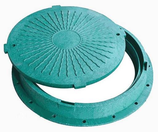 Люк для канализационного колодца пластиковый (зеленый), фото 2