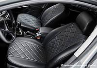 Чехлы салона Volkswagen Tiguan 2010-2017 (со столиками) Эко-кожа, Ромб /черные 88962