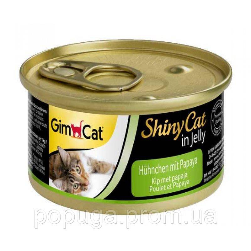Консерви Gimpet Shiny Cat для кішок, з куркою і папайєю, 70 г