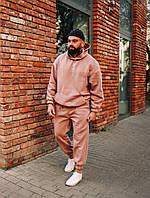 Мужской зимний костюм свободного кроя/оверсайз, бежевый