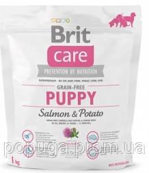 Корм Brit Care Grain-free Puppy Salmon с лососем для щенков и молодых собак всех пород, 1 кг