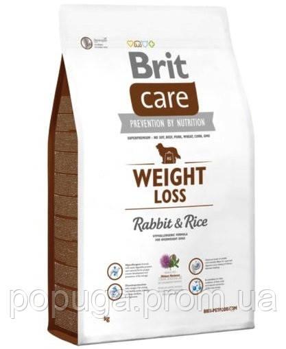 Корм Brit Care Weight Loss для собак с избыточным весом Кролик и рис, 1 кг
