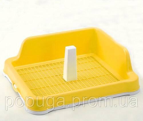 Туалет для собаки под пеленку с сеткой, столбиком и стеной для собак AnimАll M 48,5x40,6х15cм