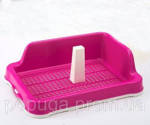 Туалет для собаки под пеленку с сеткой, столбиком и стеной для собак AnimАll L 56x43,5х16 cм
