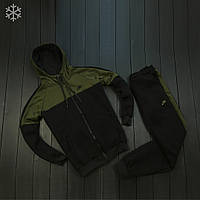 Теплый зимний мужской спортивный костюм на флисе найк/Nike