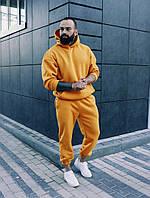 Мужской теплый зимний костюм оверсайз/свободного кроя, желтый