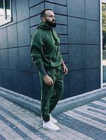 Стильный Мужской теплый зимний костюм оверсайз/свободного кроя, зеленый