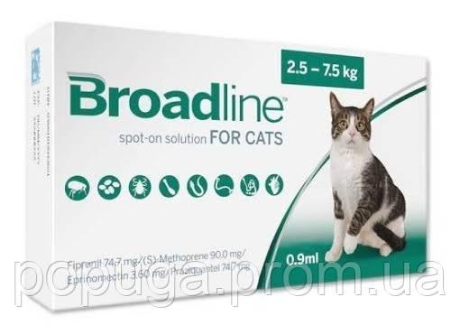 MERIAL Broadline Spot On Cat (Бродлайн Спот-Он) средство от гельминтов, блох и клещей у кошек 2,5-7,5кг