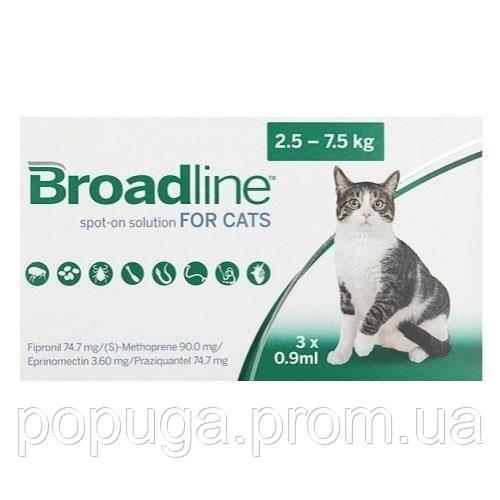 MERIAL Broadline SpotOn Cat (Бродлайн Спот-Он)Препарат против гельминтов, блох и клещей у кошек, от2.5до7,5 кг