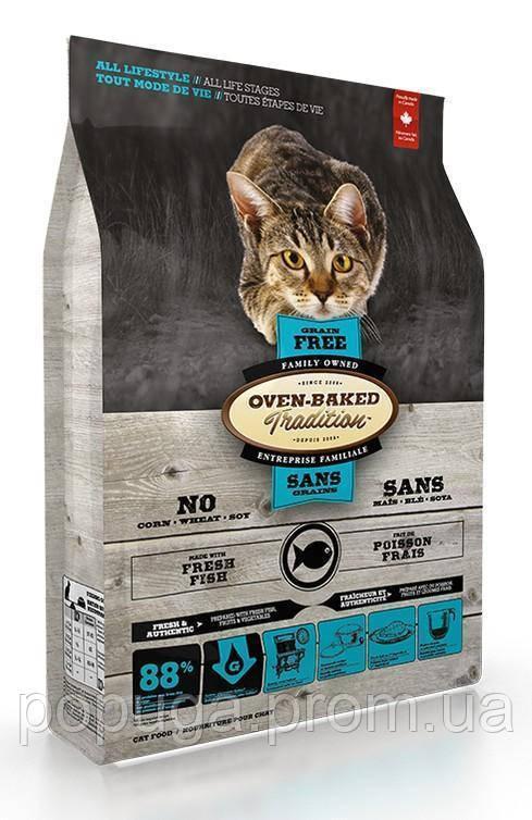 Oven-Baked Tradition Grain-free Adult Cat Fish беззерновой сухой корм для взрослых кошек с мясом рыбы, 4,54 кг