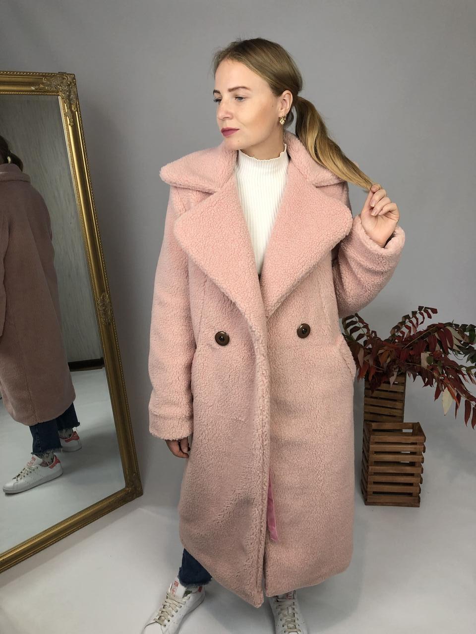 Женская шуба из эко меха Токио розовая