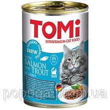 TOMi salmon trout ЛОСОСЬ ФОРЕЛЬ консервы для котов, 400 г