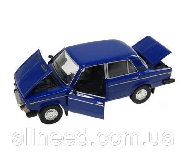 Машинка ВАЗ 2106 открывается багажник, капот, двери Автопром синяя синяя со звуком, светом