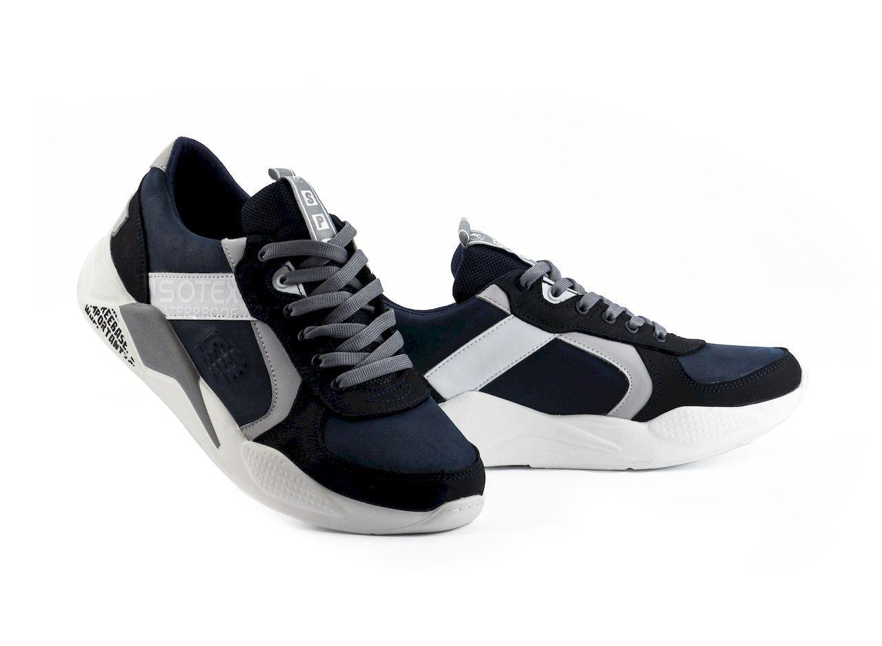 Мужские кроссовки кожаные весна/осень синие-белые Splinter Isotex 0820