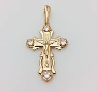 Крест нательный 86201201-01, высота 35 мм ширина 25 мм, позолота 18К