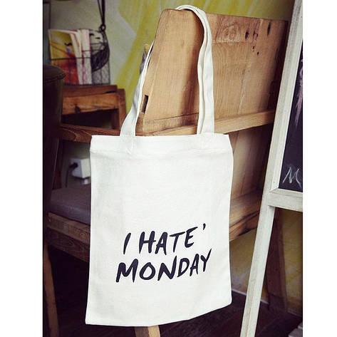 Тканевая Эко Сумка Шоппер City-A с надписью I Hate Monday Белая, фото 2