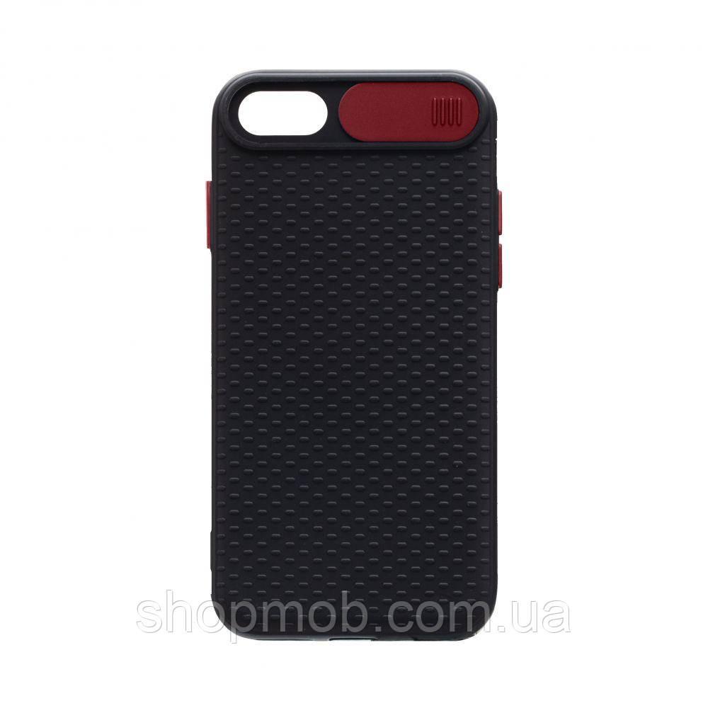 Чехол накладка для смартфонов (с защитой камеры) Non-slip Curtain for Apple Iphone 8/SE 2020 Цвет Красный