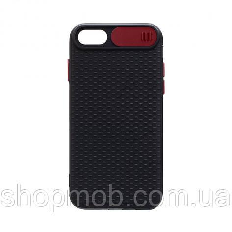 Чехол накладка для смартфонов (с защитой камеры) Non-slip Curtain for Apple Iphone 8/SE 2020 Цвет Красный, фото 2