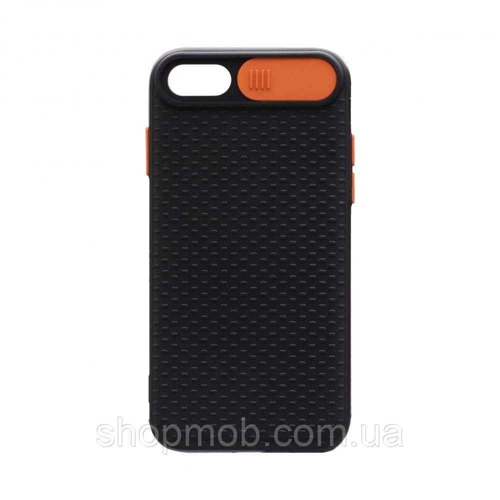 Чехол накладка для смартфонов (с защитой камеры) Non-slip Curtain for Apple Iphone 8/SE 2020 Цвет Оранжевый