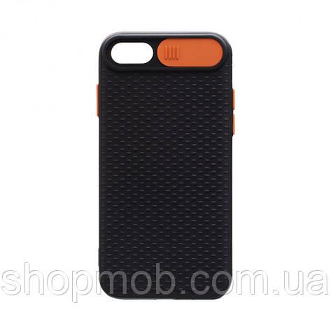 Чехол накладка для смартфонов (с защитой камеры) Non-slip Curtain for Apple Iphone 8/SE 2020 Цвет Оранжевый, фото 2