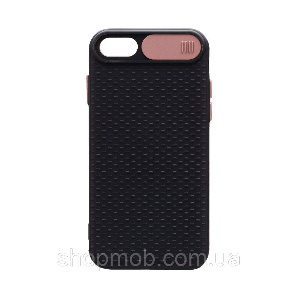 Чехол накладка для смартфонов (с защитой камеры) Non-slip Curtain for Apple Iphone 8/SE 2020 Цвет Розовый