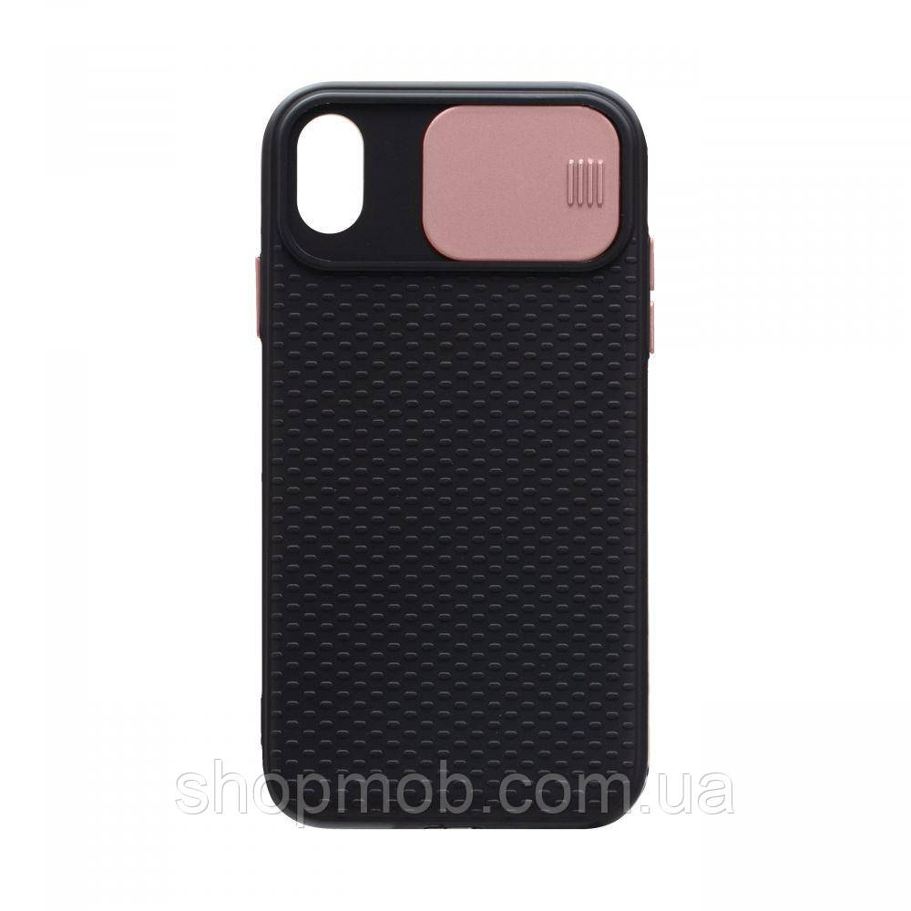 Чехол накладка для смартфонов (с защитой камеры) Non-slip Curtain for Apple Iphone Xr Цвет Розовый