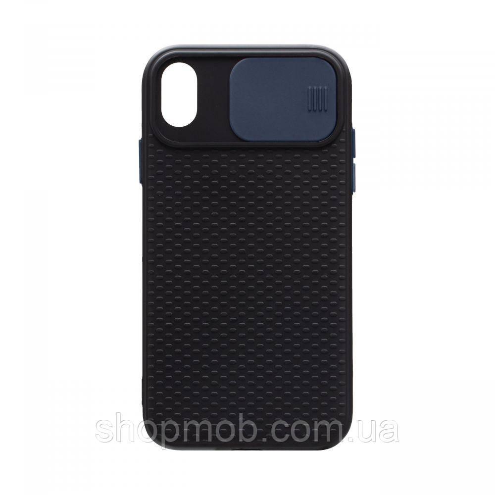 Чехол накладка для смартфонов (с защитой камеры) Non-slip Curtain for Apple Iphone Xr Цвет Синий