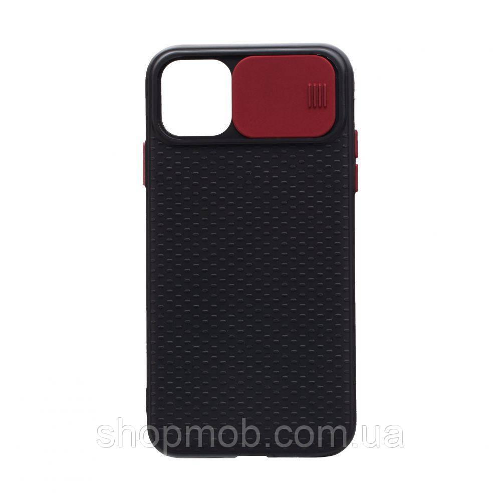Чехол накладка для смартфонов (с защитой камеры) Non-slip Curtain for Apple Iphone 11 Цвет Красный