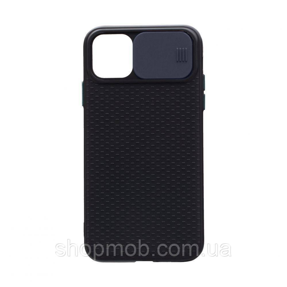 Чехол накладка для смартфонов (с защитой камеры) Non-slip Curtain for Apple Iphone 11 Цвет Синий