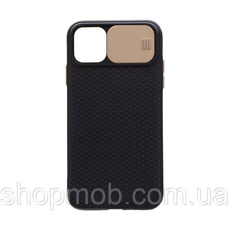 Чехол накладка для смартфонов (с защитой камеры) Non-slip Curtain for Apple Iphone 11 Pro Цвет Золотой, фото 2