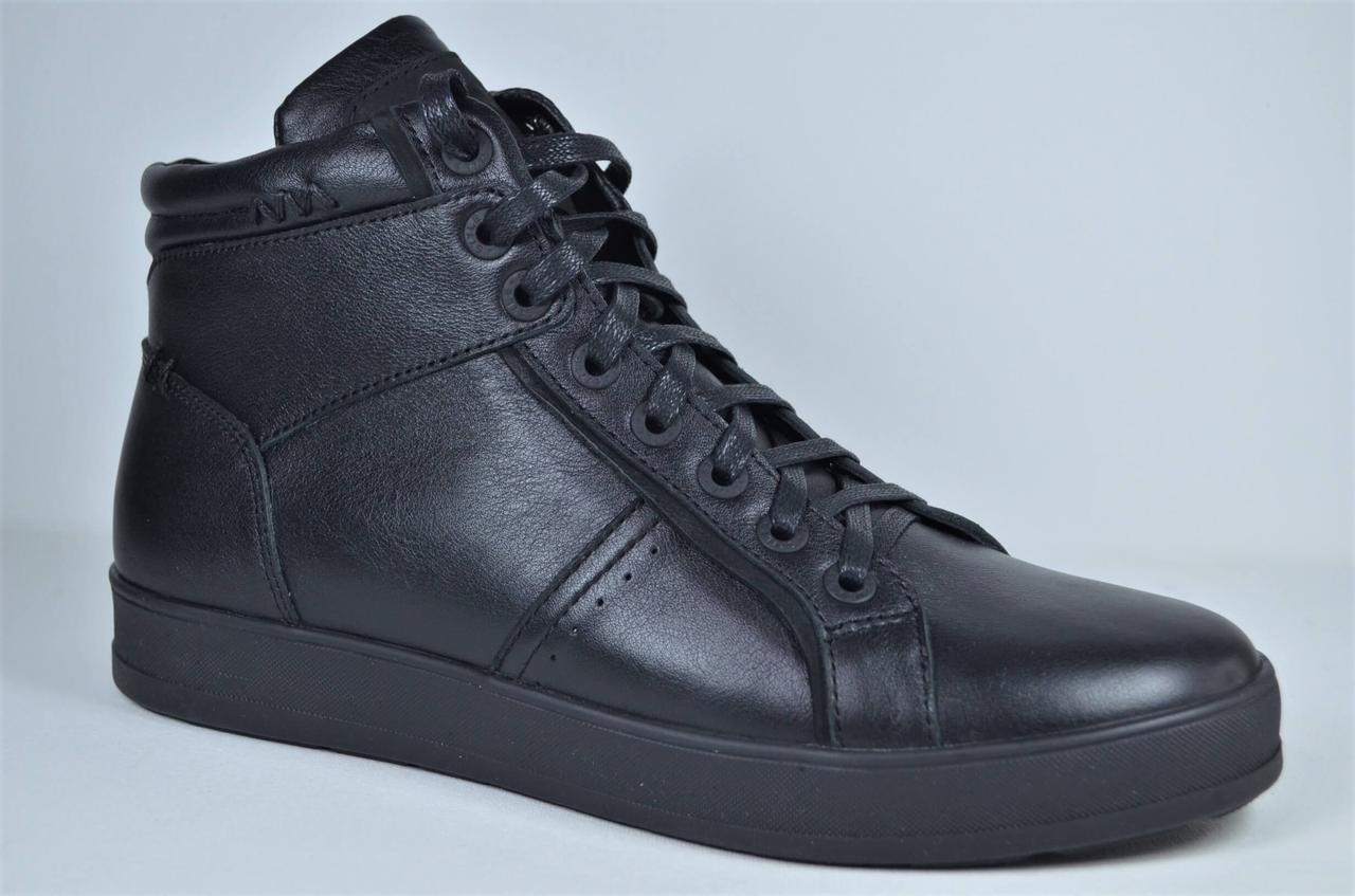 Мужские демисезонные кожаные ботинки кеды черные eD - Ge Z - B