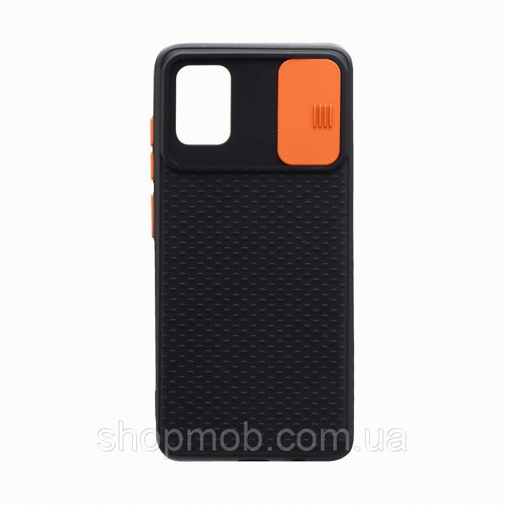 Чехол накладка для смартфонов (с защитой камеры) Non-slip Curtain for Samsung A51 Цвет Оранжевый