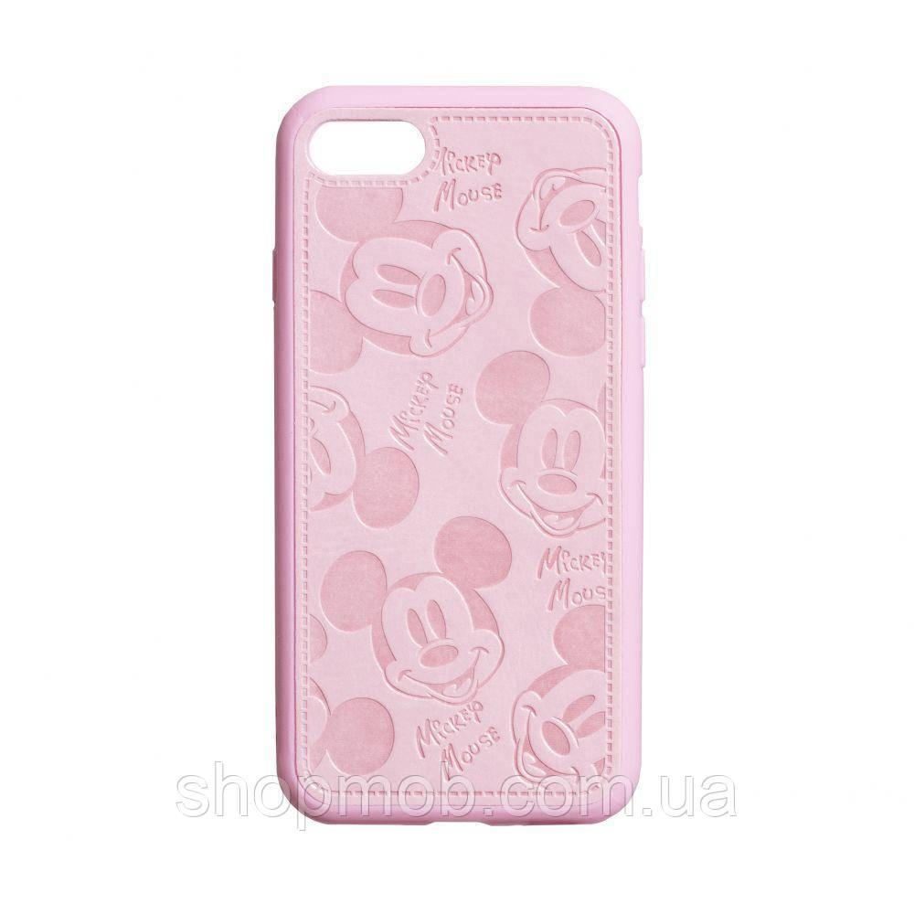 Чехол накладка для смартфонов (Микимаус под кожу) Mickey for Apple Iphone 8/SE 2020 Цвет Розовый