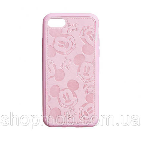 Чехол накладка для смартфонов (Микимаус под кожу) Mickey for Apple Iphone 8/SE 2020 Цвет Розовый, фото 2
