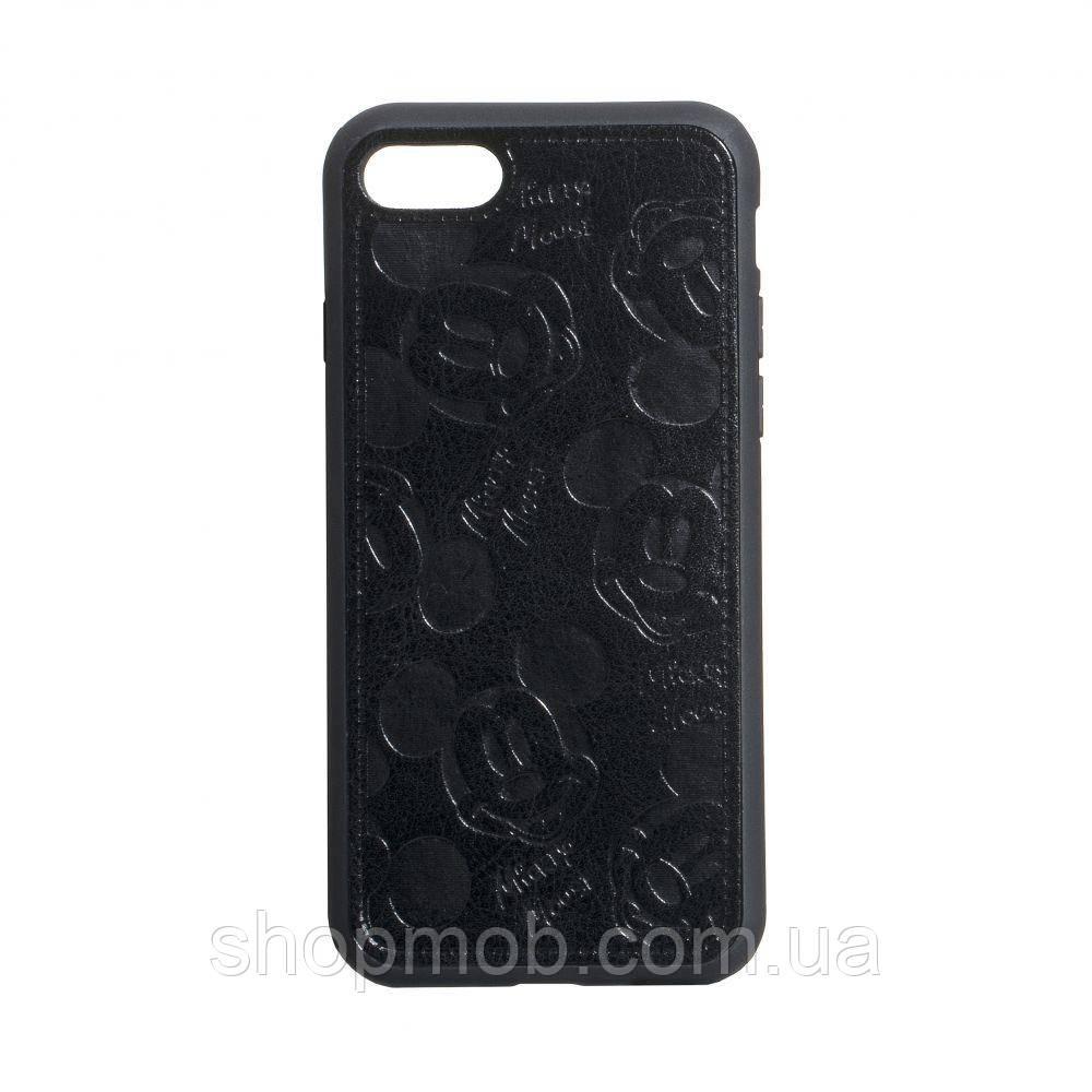 Чехол накладка для смартфонов (Микимаус под кожу) Mickey for Apple Iphone 8/SE 2020 Цвет Чёрный