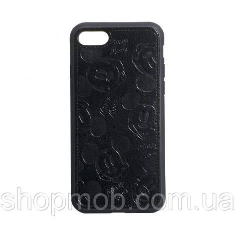 Чехол накладка для смартфонов (Микимаус под кожу) Mickey for Apple Iphone 8/SE 2020 Цвет Чёрный, фото 2